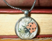 Vintage Book Jewelry -- Upcycled Book Art Pendant Featuring Nature Print of Ladybug