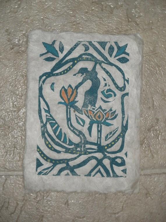 Lotus Dancer 5 x 7 linocut card