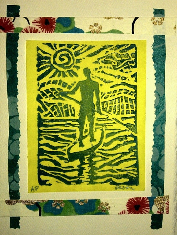 On Board 5 x 7 Linocut card