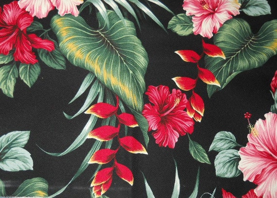 Barkcloth Hawaian Red and Pink  Hibiscus  & Gorgeous Red Birds of Paradise Black   Background