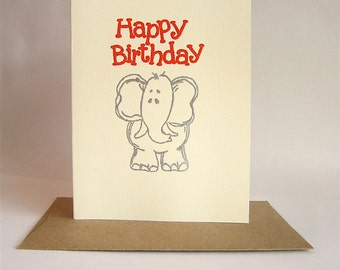 Elephant  Birthday Card -- Inside: HOPE IT'S WILD  -- Sparkly Red with Silver Elephant