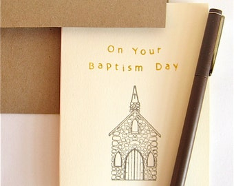 Baptism Card -- Delicate Stone Chapel in Silver and Gold on Cream Card