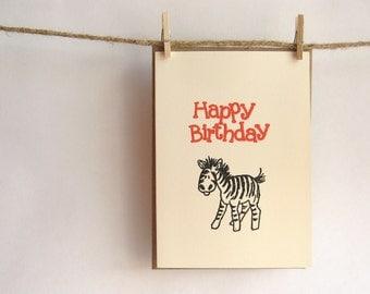 Zebra Birthday Card  --   Red  Happy Birthday with  Black Zebra