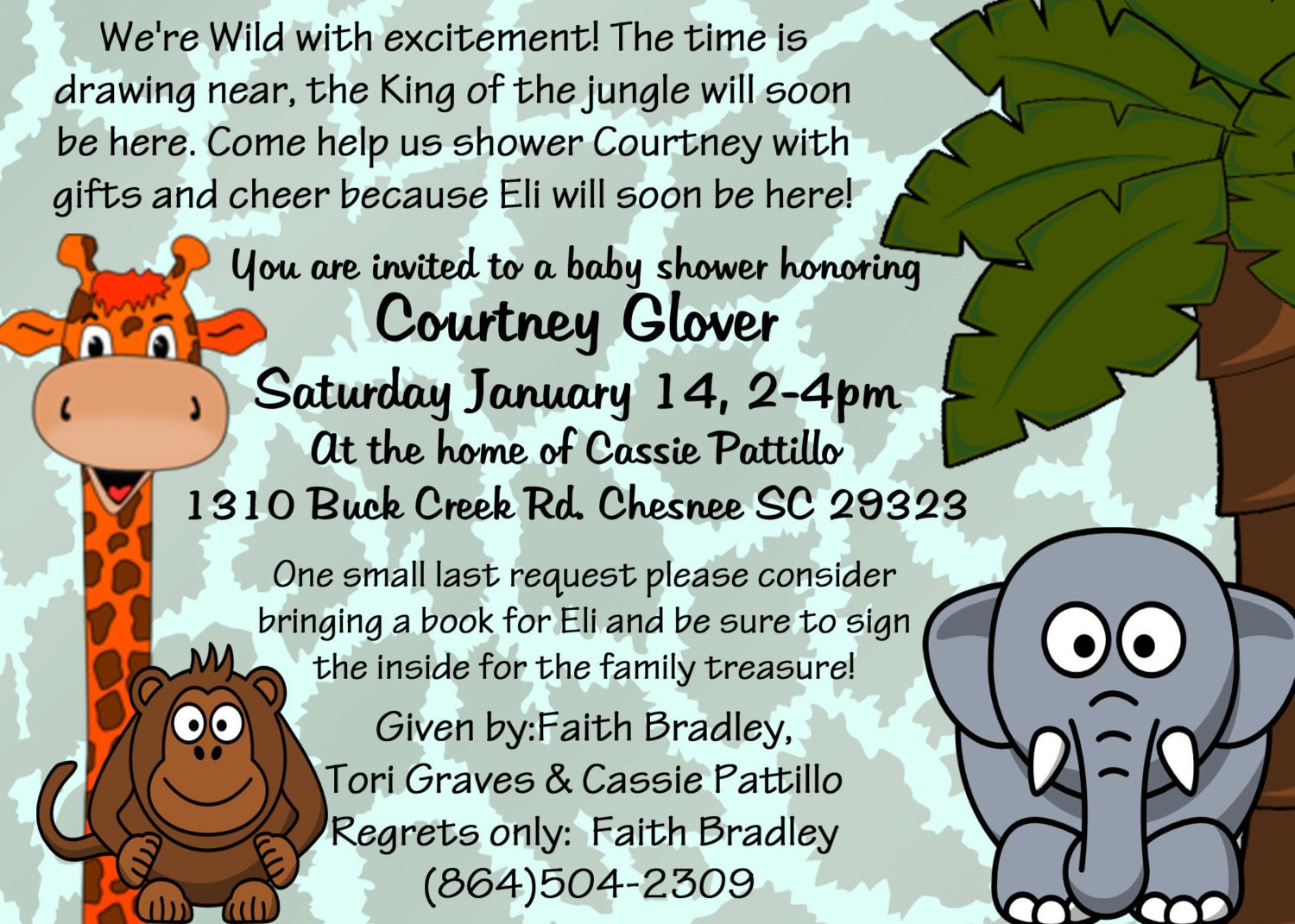 jungle themed baby shower digital file by makeitpersonalforyou