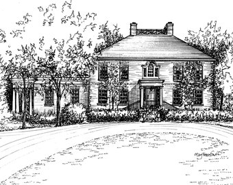 Custom Home Portrait in Pen and Ink - your home drawn - wedding or commitment ceremony gift