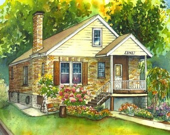 Watercolor House Painting of Your Home, Custom Art, Architectural Rendering, Custom Illustration from your photo, house portrait