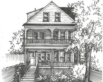 Commission an Original Ink House Drawing -  Architectural sketch of home in black ink- Home portrait - Custom house drawing