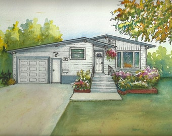 Watercolor House Painting - Custom painting of your home - house portrait hand painted from your photos - artist rendering of your house