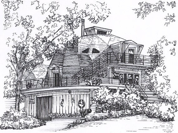 House Illustration  Custom Black Ink architectural drawing  house portrait drawn of home from photo Commissioned art of business or building