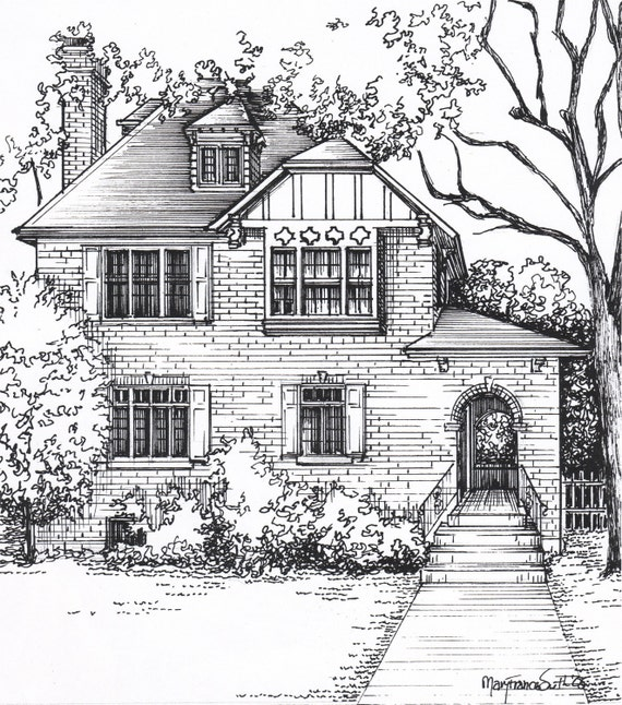 Custom house sketch hand drawn home portrait in ink for House drawing easy
