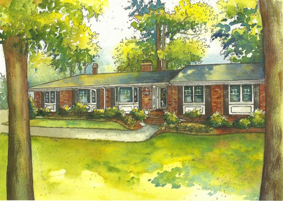 Watercolor House Portrait - Custom painting of your home - Architectural watercolor sketch hand painted of your house from photo
