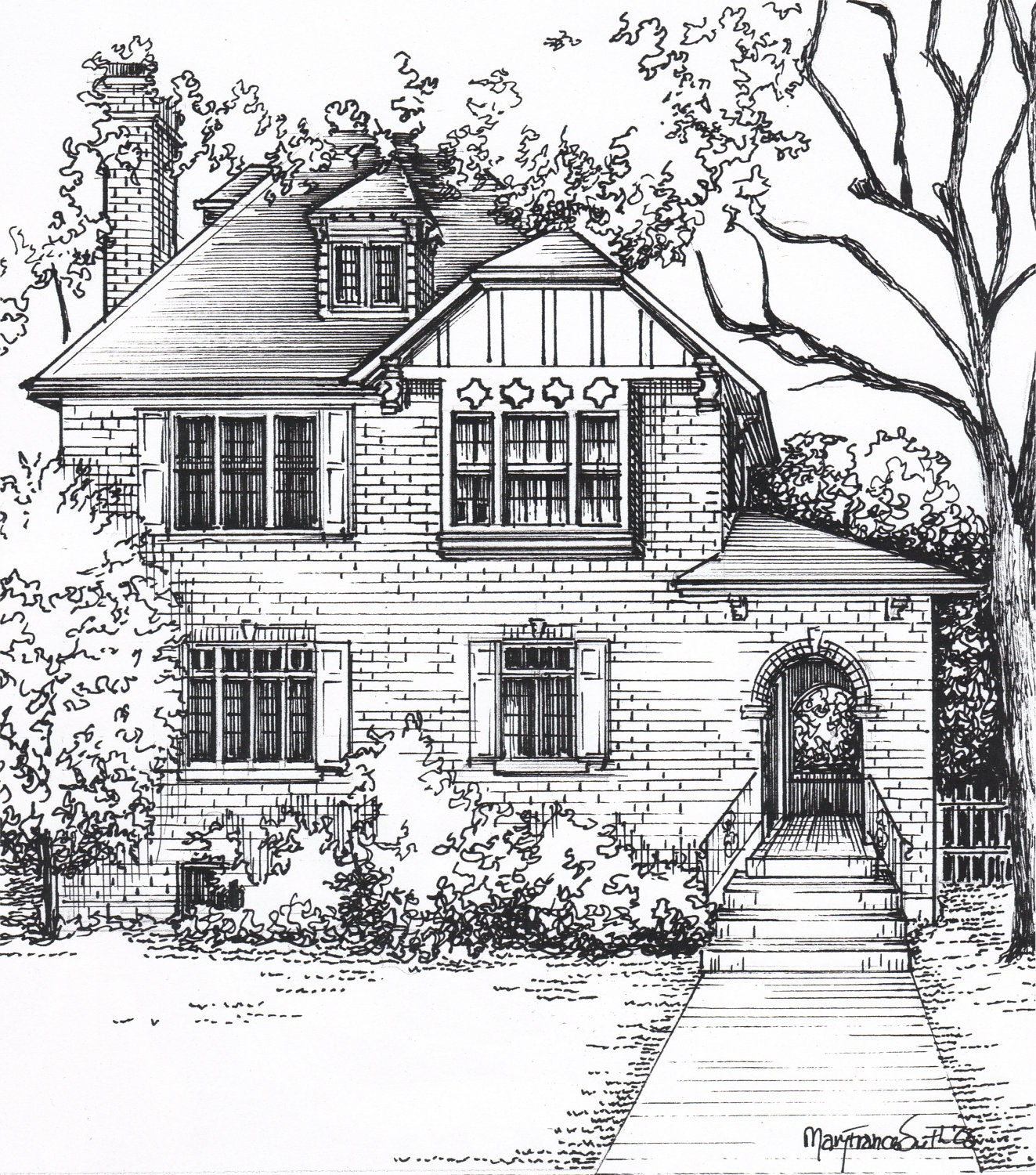 Custom house sketch hand drawn home portrait in ink for Architectural drawings of houses