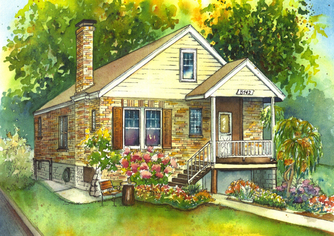 watercolor house painting of your home custom art