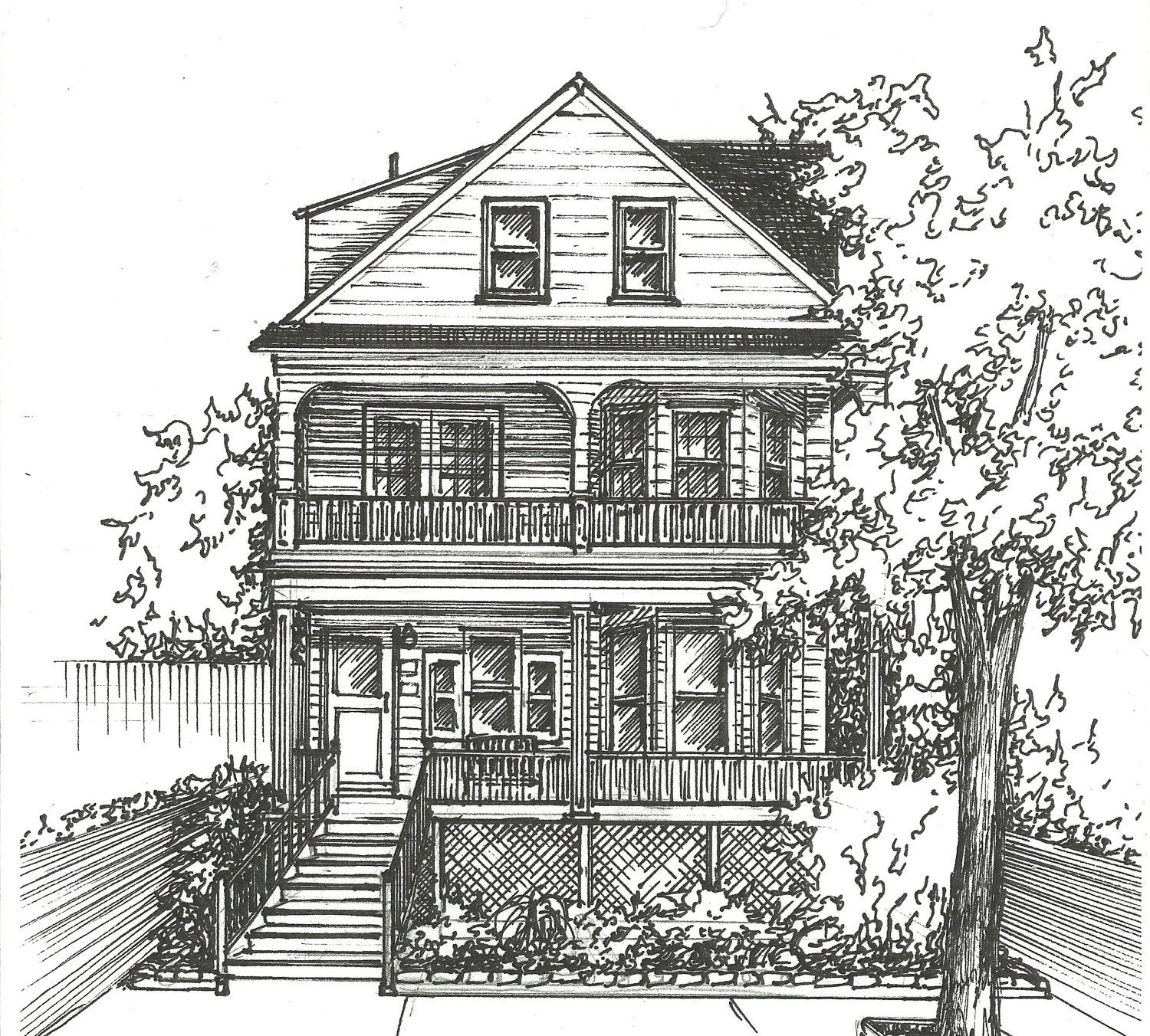 Commission an original ink house drawing architectural for Architectural drawings for houses