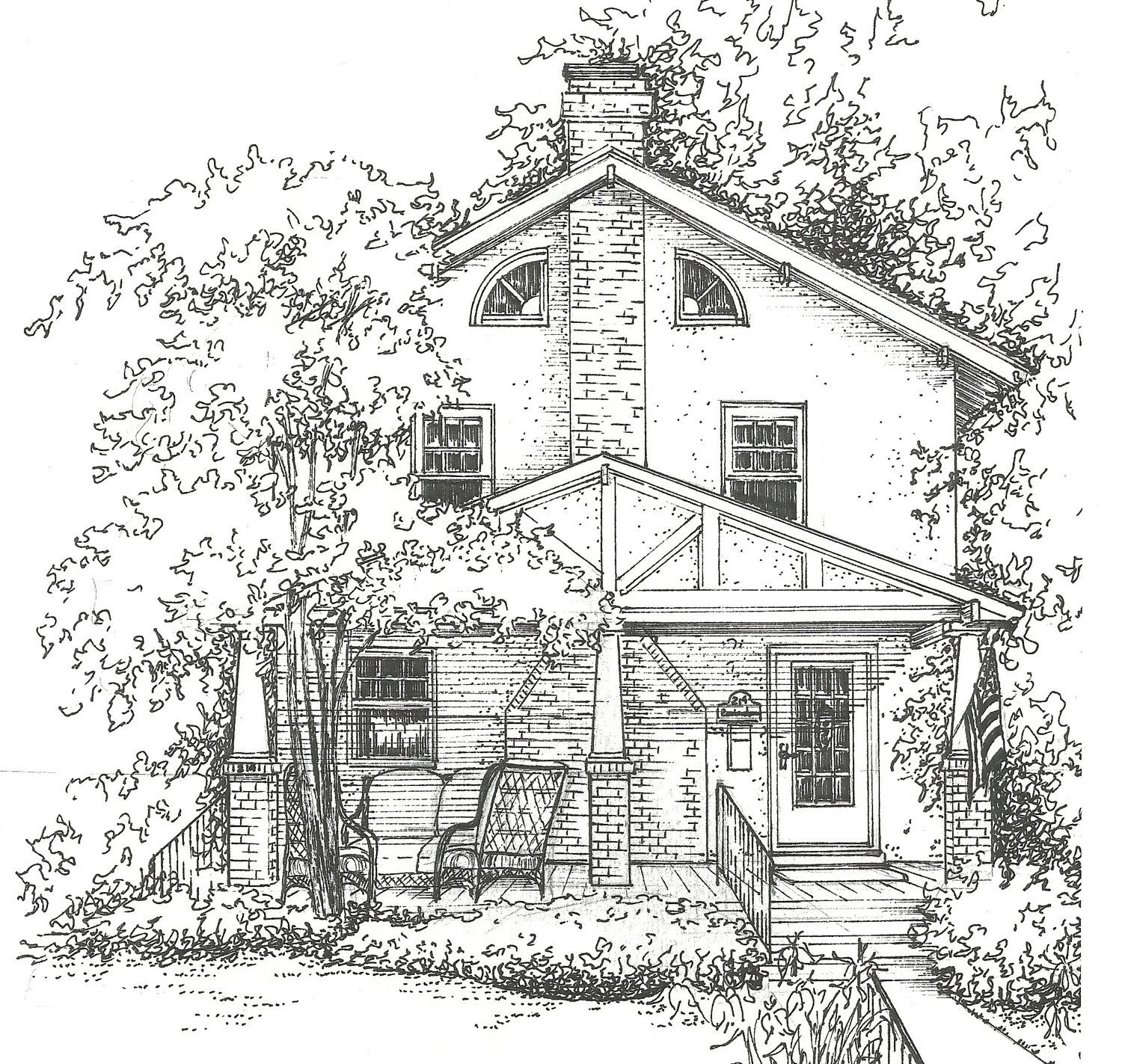 Line Art Images Of Houses : Unavailable listing on etsy