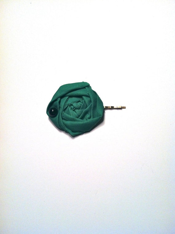 Going Green Bobby Pin :  Rosette w. Vintage Turquoise Stone Hair Accessory