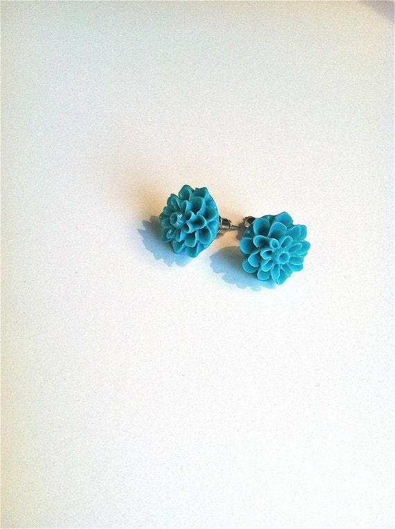 Teal Minis : Small Flower Post Earring