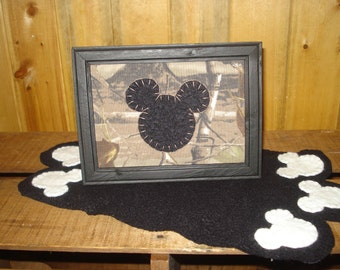 MIckey Mouse disney inspired camo camouflage framed art penny rug style