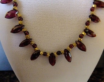 Marquis Garnet and Gold Filled Bead Necklace