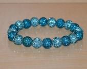 Turquoise/Aqua/Blue-Green Pave Crystal Ball Bead Stretch Bracelet - 10mm - 1020B