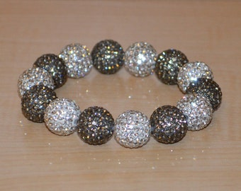14mm Gray and White Pave Crystal Ball Bead Stretch Bracelet - 1414B