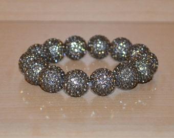 Gray Pave Crystal Ball Bead Stretch Bracelet - 14mm - 1414B
