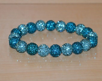 10mm Turquoise/Aqua/Blue-Green Pave Crystal Ball Bead Stretch Bracelet - 1020B