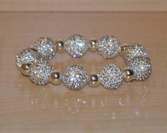 14mm White Pave Crystal Disco Ball Bead Bracelet with 8mm Silver Plated Beads - 1409B