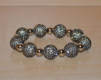 14mm Gray Grey Pave Crystal Disco Ball Bead Bracelet with 8mm Silver Plated Beads - 1409B