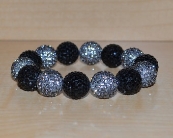 14mm Black and Gray Grey Pave Crystal Disco Ball Bead Stretch Bracelet - 1414B