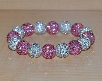 12mm Pink and White Pave Crystal Disco Ball Bead Stretch Bracelet - 1216B