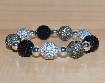 14mm Black, White, and Gray Pave Crystal Disco Ball Bead Bracelet with 8mm Silver Plated Beads - 1409B