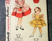 Very cute 1950's little girl's vintage sewing pattern, Simplicity 4136, size 2, great condition