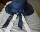 Beautiful English  vintage navy 1950's hat with navy and white grosgrain ribbon accents