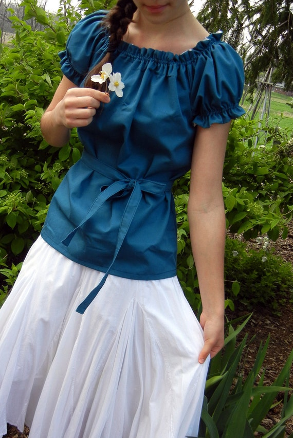 Cute Teal/Turquoise Gathered Blouse with Sash