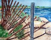 Falmouth Beach, Cape Cod Painting Fine Art Print