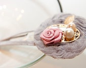 Zilly's - (L) - Handmade Fabric Hair Clip with Pearls, Rhinestone, Gold Leaf and Chiffon Fabric Flowers- light purple/pink/gold yellow