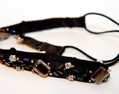 Zilly's - (E) - Handmade Fabric Hair Wrap with Rhinestones and Beads on Black Ribbon - clear/multicolor//black