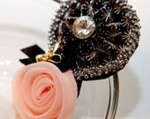 Zilly's - (C) - Handmade Fabric Hair Clip with Gold Bow Clip, Rhinestones, Beads, and Chiffon Flowers - light pink/black/gold