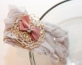 Zilly's - (T) - Handmade Fabric Hair Clip with Rhinestones, Gold Flower Clip, Ribbon Bow, and Chiffon - light lavender/pink