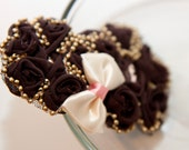 Zilly's - (AL) - Handmade Fabric Hair Clip with Ribbon Bow, Beads, and Chiffon Flowers - purple maroon/pink