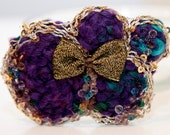 Zilly's - (AB) - Handmade Fabric Hair Clip with Beads, Silver Strings, Gold Bow, and Wool Flowers - purple/turquoise/gold