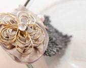 Zilly's - (AM) - Handmade Fabric Hair Clip with Rhinestone, Pearl, Gold Flower, Stitched Leaf, and Chiffon Flowers - light lavender/grey
