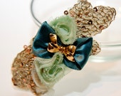 Zilly's - (G) - Handmade Fabric Hair Clip with Sequins, Gold Bow Clip, Chiffon Flowers, and Ribbon Bow - apple green/cream/gold