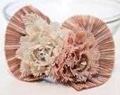Zilly's - (AJ) - Handmade Fabric Hair Clip with Rhinestones and Chiffon Flowers/Shell - pink/cream
