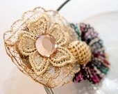 Zilly's - (Y) - Handmade Fabric Hair Clip with Rhinestone, Gold Clips and Lace Flower- multicolor/shimming gold