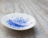 Small Porcelain Dish with Blue and Gold Dots - 4""