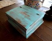 Jewelry Box Wood Distressed Turquiose