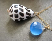 20% SALE - Hawaiian Cone Shell Necklace with Chalcedony