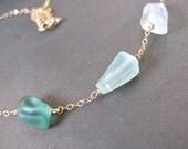 Sea Glass Necklace, Hawaiian, Gold Chain